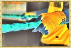 ボクシングの黄色いバンテージ