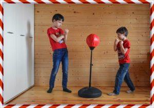 ボクシングをしている子供の兄弟
