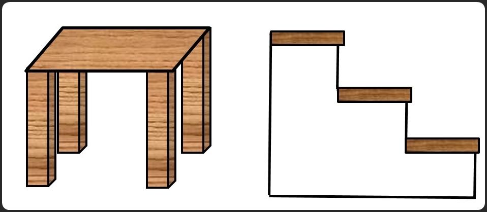テーブルと階段