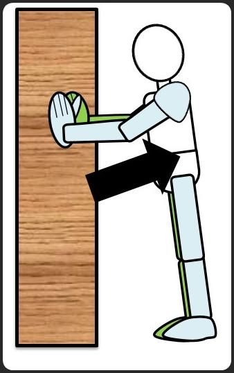 壁に手をついた腕立て伏せ 上げるとき