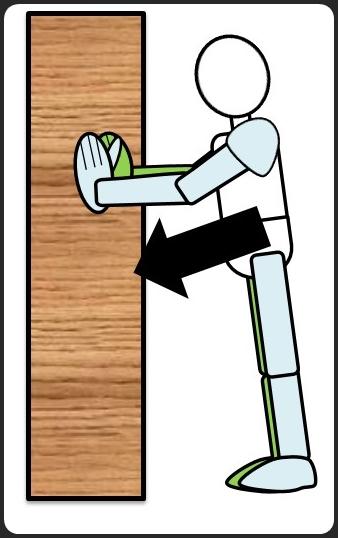 壁に手をついた腕立て伏せ 下ろす時