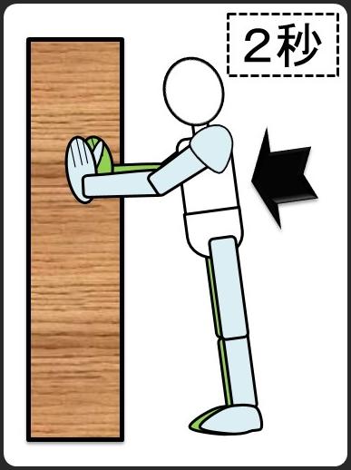 壁に手を付けて腕立て伏せ 2秒で下ろす