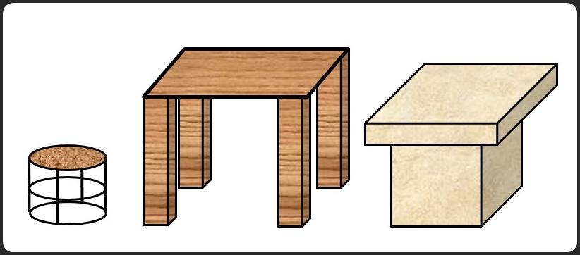 テーブルとイスと台