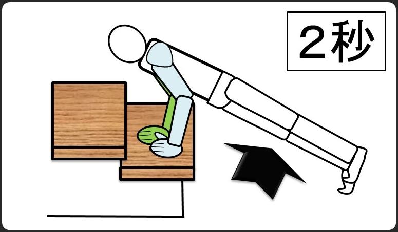 階段を使った腕立て伏せ 2秒で体を上げる