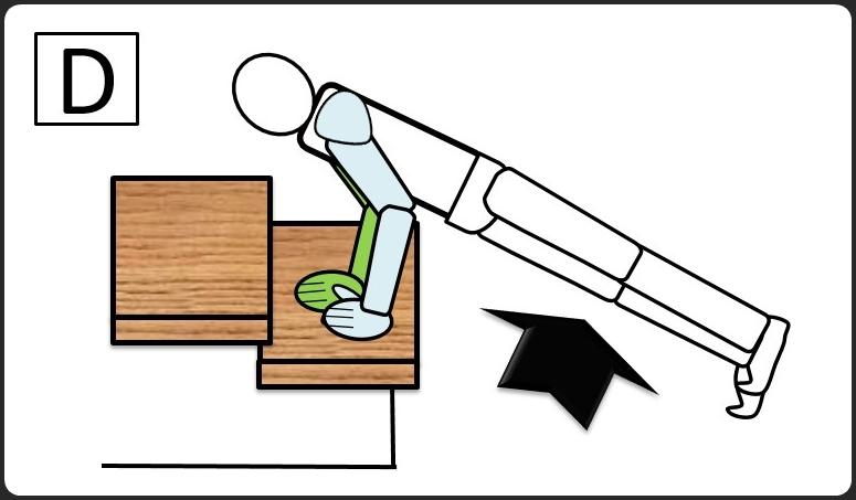 階段を使った腕立て伏せ 上げる時