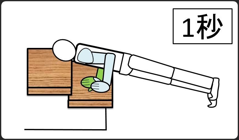 階段を使った腕立て伏せ 体を下ろして1秒キープする
