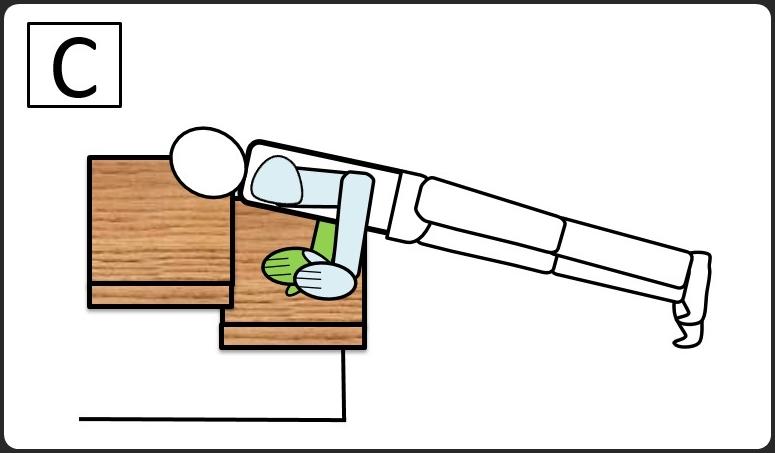 階段を使った腕立て伏せ 下ろしたとき