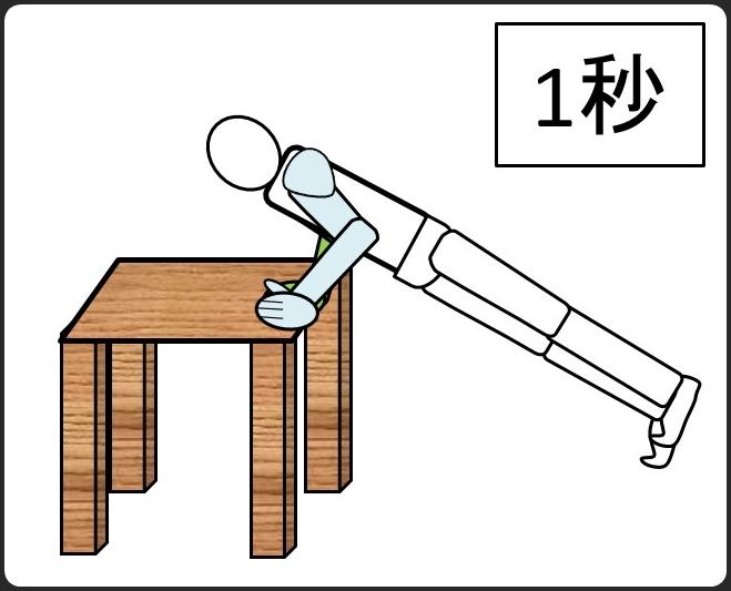 テーブルを使った腕立て伏せ 下ろしたとき1秒
