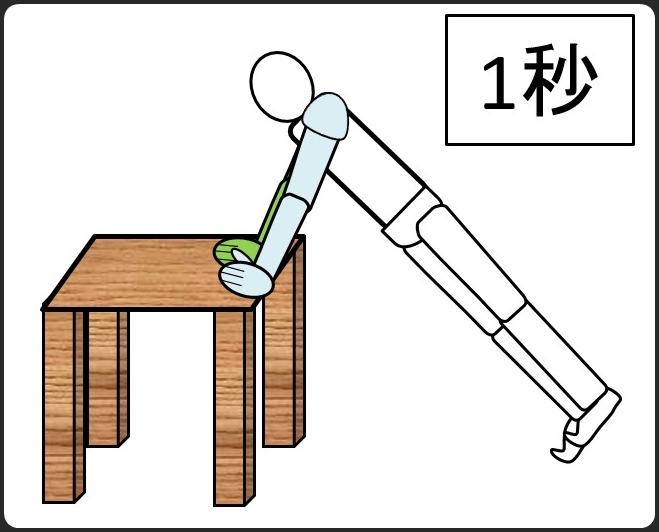 テーブルを使った腕立て伏せ 最初は1秒
