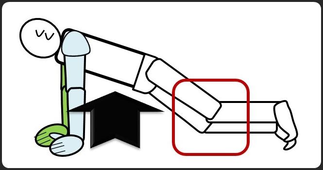 てこの原理を使わない、ひざを曲げた腕立て伏せ