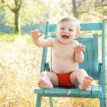赤ちゃんが座っているところ
