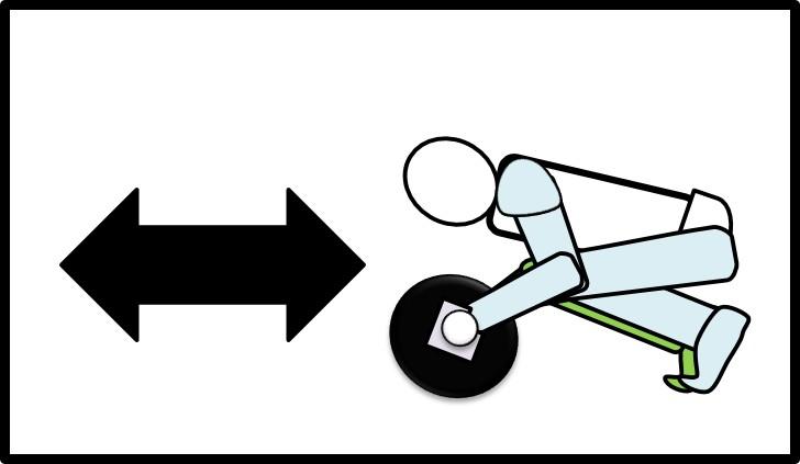 腹筋ローラーを動かす 体を縮めている時