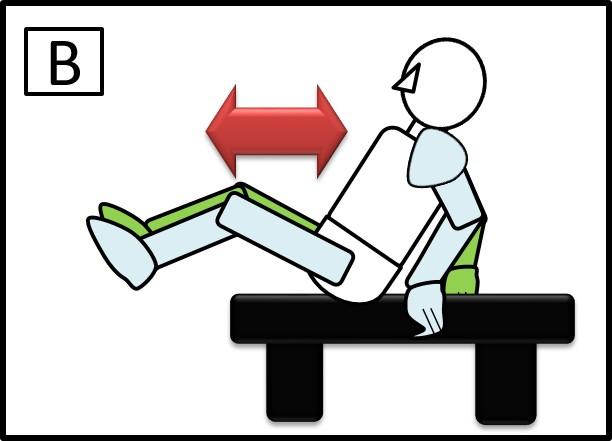 ベンチで足の伸ばす 伸ばす時
