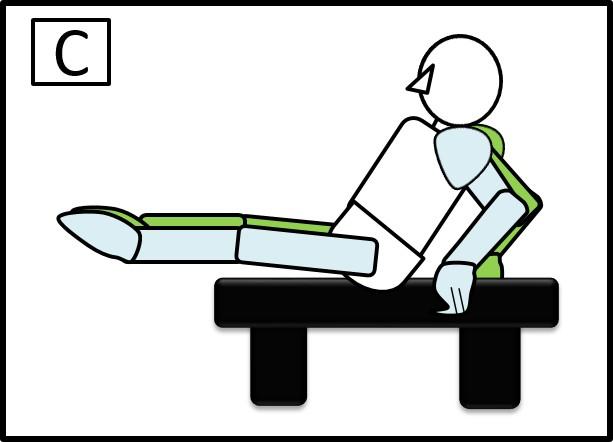 ベンチで足を伸ばす腹筋 足を伸ばしたとき