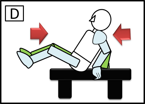 ベンチで足を伸ばす腹筋 足を縮めるとき