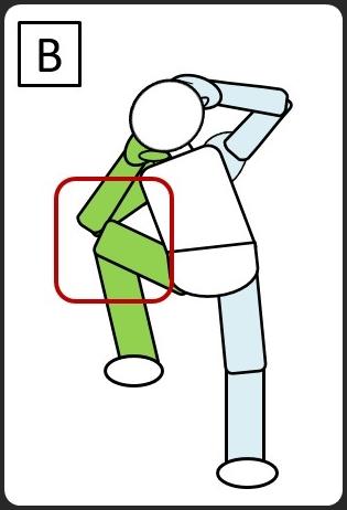 腹斜筋 立って同じひじと膝をつける 右でつける