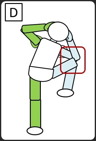 立って同じひじとひざをつける 左のほう