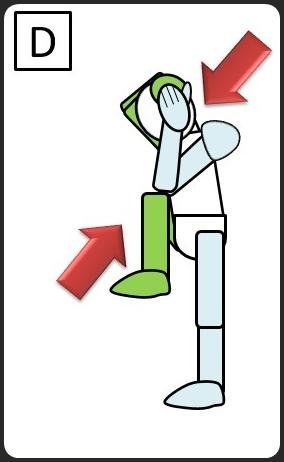 腹斜筋 立って違うひじと膝をつける 左ひじと右ひざをつける