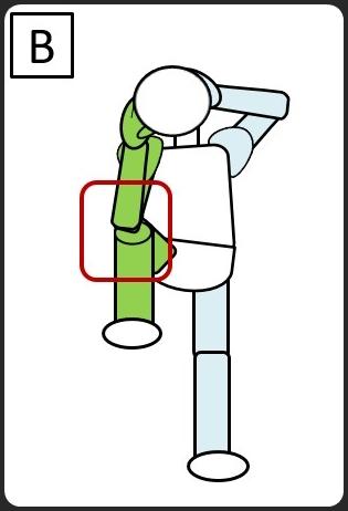 仰向けになって、同じひじとひざをつける 右をつける