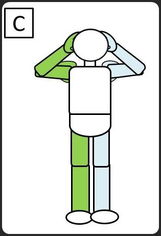 仰向けになって、同じひじとひざをつける 元に戻す