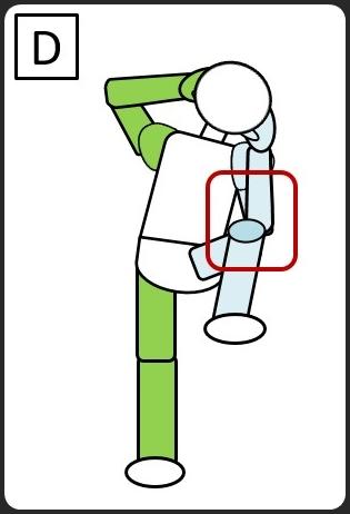 仰向けになって、同じひじとひざをつける 左ひじとひざをつける