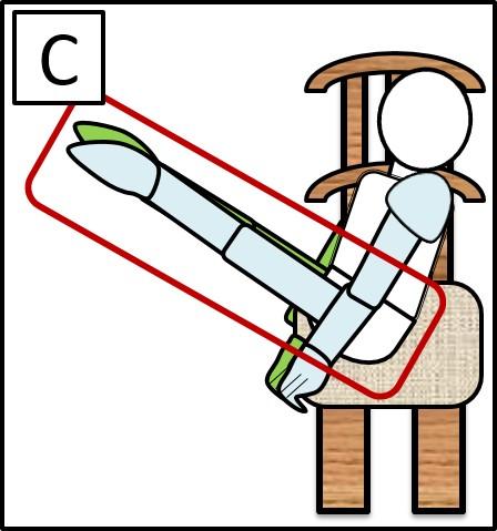 45度に曲げた足を伸ばす