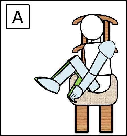 イスに座って足を伸ばす 最初