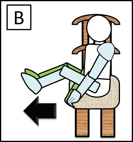 イスに座って足を伸ばす 伸ばす時