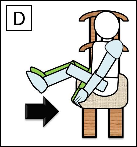 イスに座って足を伸ばす 足を曲げる時