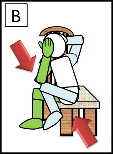 イスに座って、体をねじる 右ひじと左ひざをつける