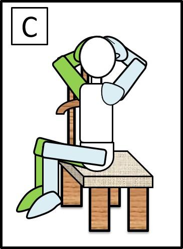 イスに座って、体をねじる 元に戻す