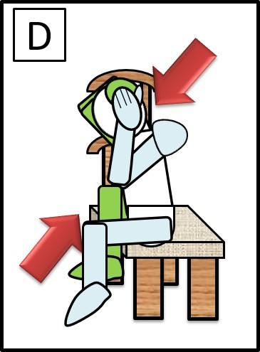 イスに座って、体をねじる 左ひじと右ひざをつける
