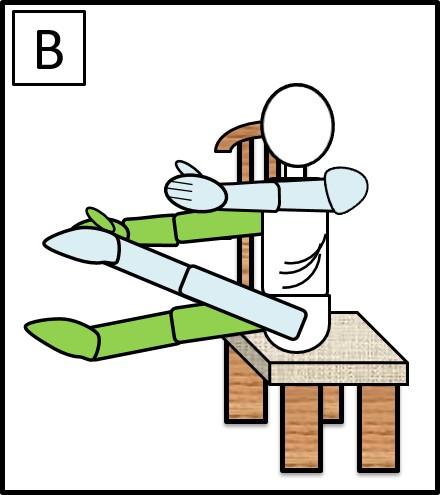 イスに座って、手足を伸ばす 右手と左足をつける
