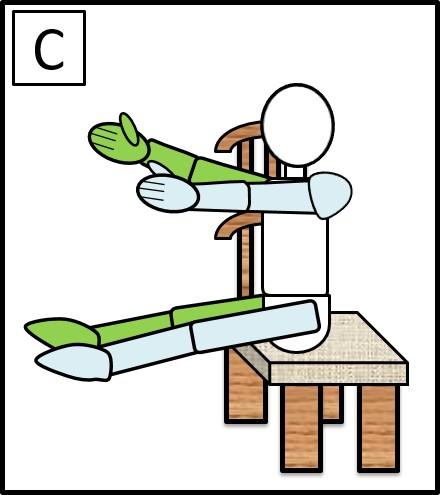 イスに座って、手足を伸ばす 元に戻す