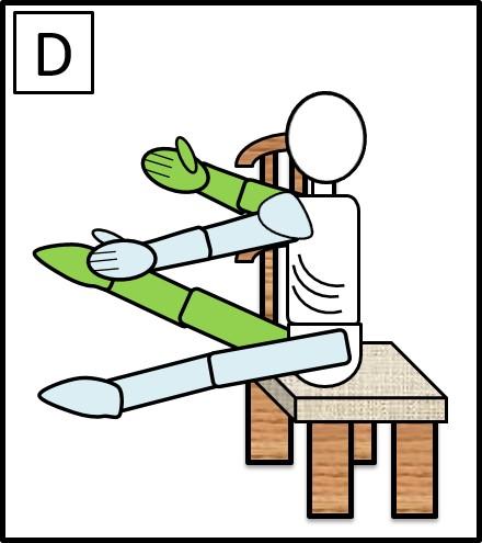 イスに座って、手足を伸ばす 左手と右足をつける