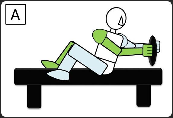 ベンチに座って、腰を回転する 最初 横から