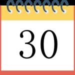 カレンダーの30日 日付