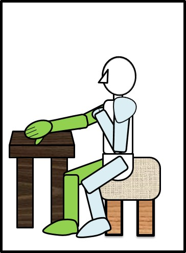 イスに座ってスクワット 台に手をついて