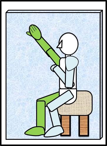 イスに座ったスクワット 壁に手をついて