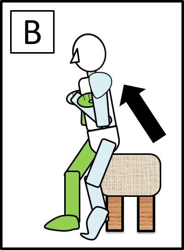 足を前後にしてスクワット 体を上げる時