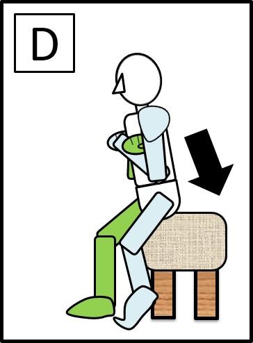 足を前後にしてスクワット 体を下ろす時