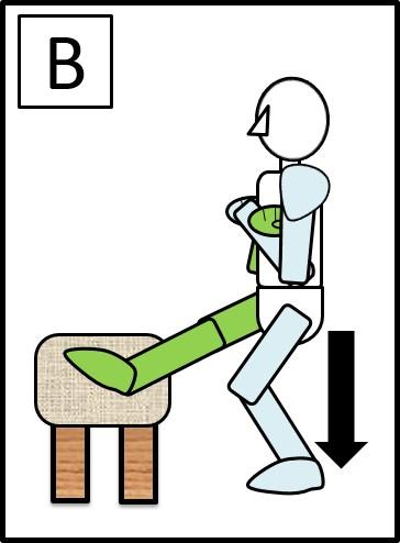 イスに足を置いてのスクワット 下ろす時