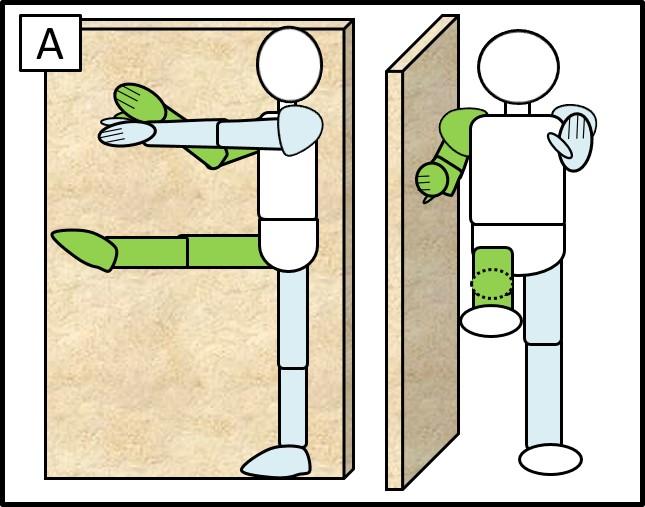 壁に手をつけた片足スクワット 最初