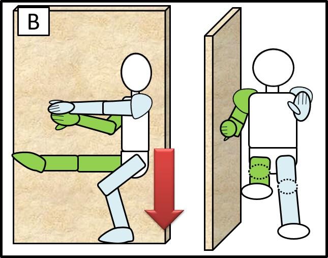 壁に手をつけた片足スクワット 体を下ろす時