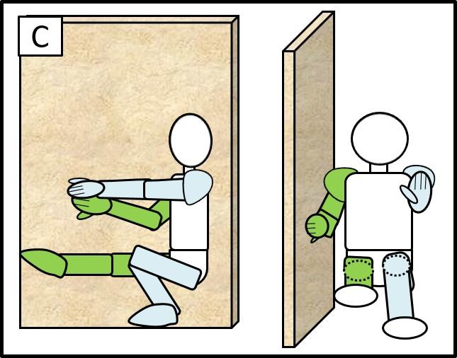 壁に手をつけた片足スクワット 体を落とした時