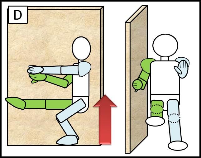 壁に手をつけた片足スクワット 体を上げる時
