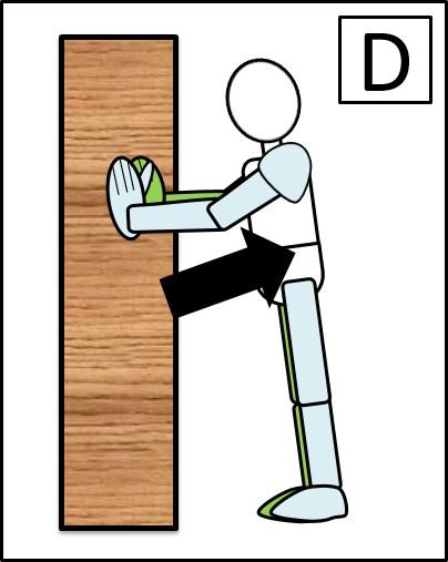壁を使った腕立て伏せ 体を上げる時