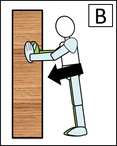 壁を使った腕立て伏せ 体を落とす時