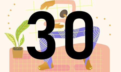 女性の絵と30の数字
