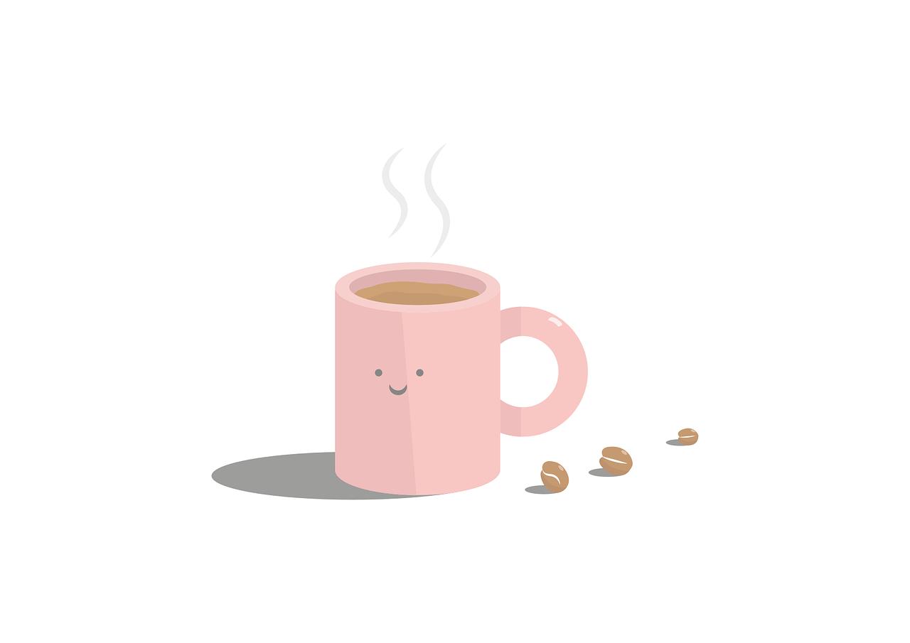 コーヒーカップの笑顔